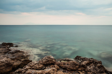Seascape with cloudy sky