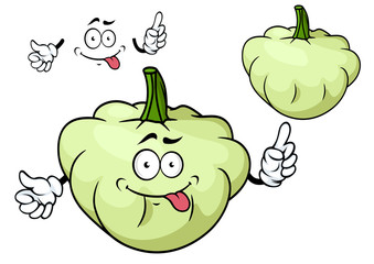 Cartoon pattypan squash vegetable character