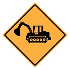 Warning Sign  machine . Crawler Dozer Loader