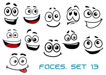 Cartoon faces with various emotions