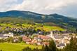 Leinwanddruck Bild - Alpine town in Austria