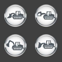 Crawler Dozer  Icon set , vector Illustration