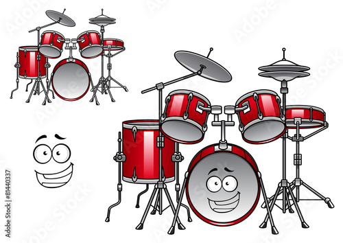 Red drum kit cartoon character - 81440337