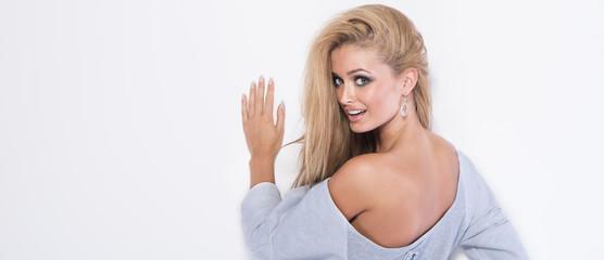 Portrait of sensual blonde woman.