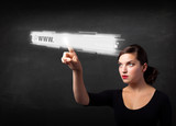 Young businesswoman touching web browser address bar with www si