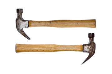 Two rusty claw hammers - equal power