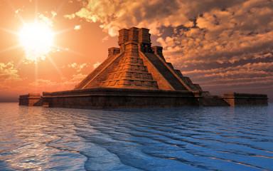 temple maya sur l'eau