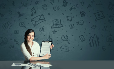 businesswoman with media icons background