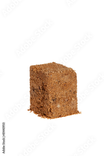 cube of sand isolated on white background