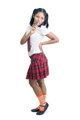 student in school uniform with lollipop