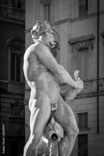 Leinwanddruck Bild Fontana del Moro (Moor Fountain) - Piazza Navona in Rome