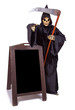 Grim Reaper standing at menu-board and points the finger forward