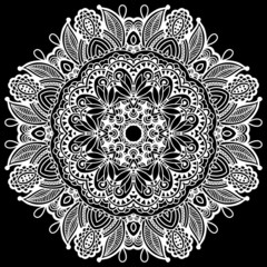 black and white beautiful vintage circular pattern of arabesques