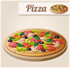 Pizza. Detailed Vector Icon