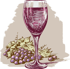 wine glass and grape