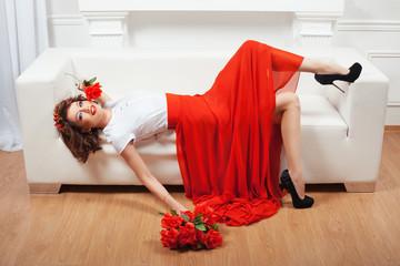 Girl lying on a sofa.