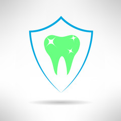 Tooth in a shield icon. Teeth protection concept symbol. Vector