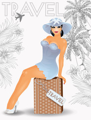 Summer travel pin up sexual women, vector illustration