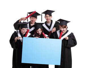 happy graduates student show billboard