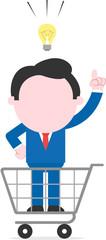 Businessman with an idea inside shopping cart