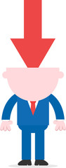 Red arrow pointing down headed businessman standing