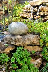 galet sur sur les pierres d'un bassin