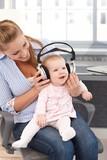 Baby girl with headphones