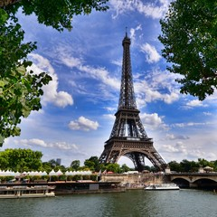 View of the Eiffel Tower across the river Seine, Paris France