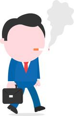 Businessman walking and smoking cigarette