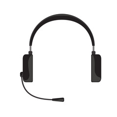 Vector illustration of black headphones with microphone on white