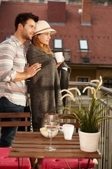 Romantic evening in balcony