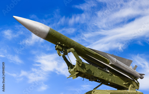 Anti-aircraft defence system on sky background - 81448349