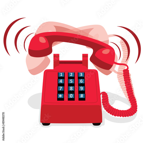 Ringing red stationary phone with button keypad - 81448378