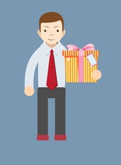 Young man holding a gift, vector illustration