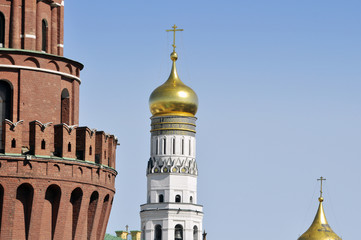 Moscow Kremlin and old white church in Russua