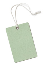 Blank green cardboard price tag or label isolated