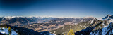panorama of the Dolomites with snow-capped peaks and conifers - 81448755