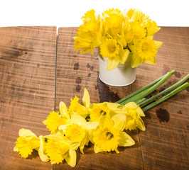 Yellow daffodils with metal vase