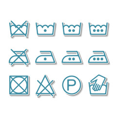 Instruction laundry, dry cleaning, care icons