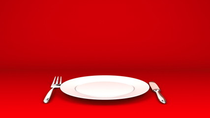 Cutlery And Dish On Red Text Space