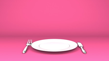 Cutlery And Dish On Pink Text Space