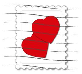 Briefmarke mit 2 Herzen