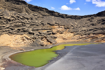Close view of the green lagoon in Lanzarote