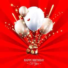 Birthday card with open gift box, balloons and magic light