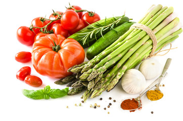 Fresh vegetables isolated on white copy space background horizon