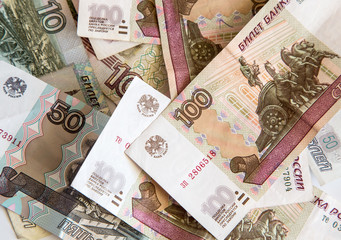 Russian rubles close-up