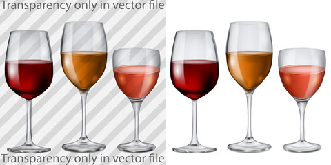 Transparent and opaque glass goblets with wine
