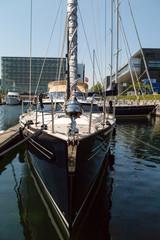 Boat moored in marina