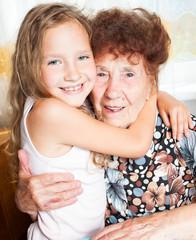 Elderly woman with great-grandchild