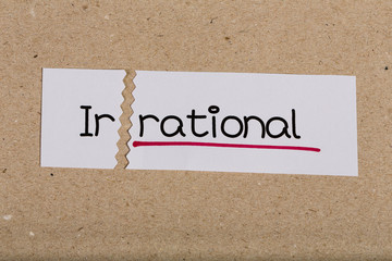Sign with word irrational turned into rational